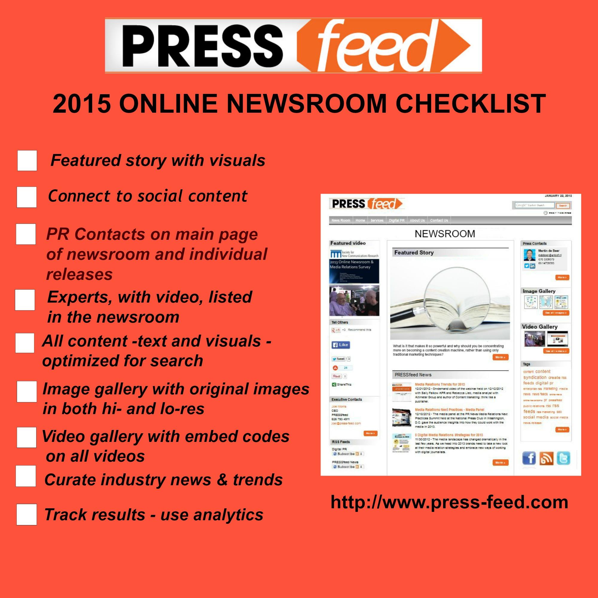 online newsroom checklist