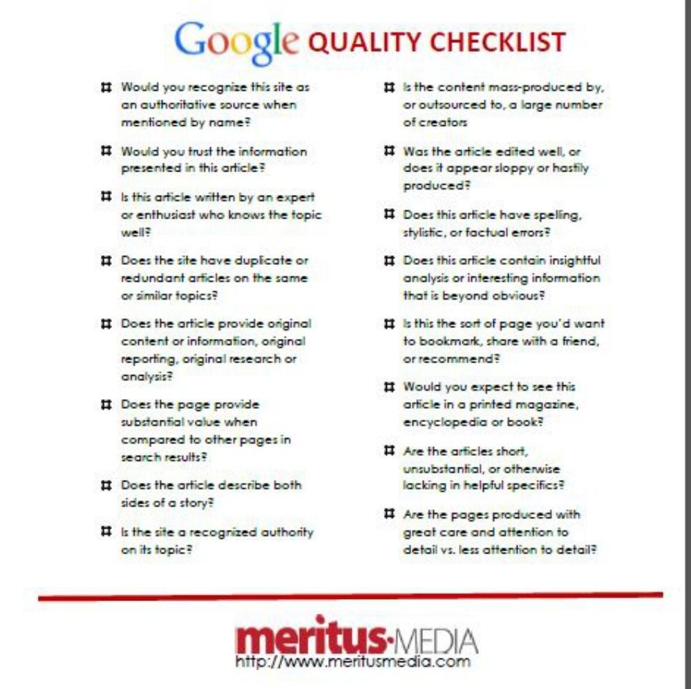 Google checklist 2015